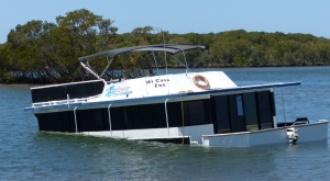 Rental houseboat. What caused the craft to sink in relatively sheltered waters?