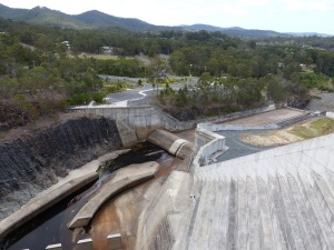 Looking down onto the spillway from the dam wall.