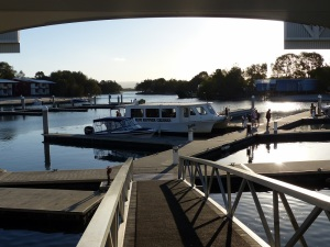 Couran Cove Marina on South Stradbroke Island. Rumm Runner is waiting for final passengers to depart at 5pm.