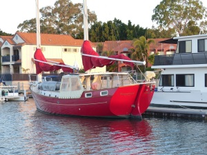 An unusual design ketch at Hope Harbour Marina.