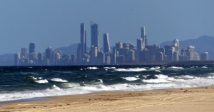 The skyline of Southport and Srfers Paradise can be seen from many locations around the Gold Coast.