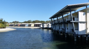 Some of the resort cabins built out over the water at Couran Cove on South Stradbroke.