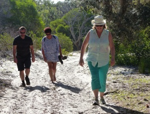 Donnis powering up the sandy track - despite her knees crying out in protest.