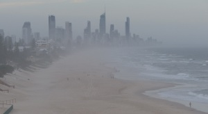 Surfers Paradise seen through the mist from the top of the headland at Nobby's Beach.
