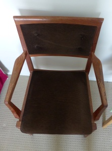 This is how the chairs looked when we arrived. Al;though the upholstery was in good condition, the sprung part of the cushion and the cushioning itself was  worn out. The timber was looking very sad with accumulated grime,