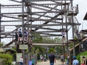 The beginning of the Sky Climb where everybody is attached to the guide rail with a safety harness.