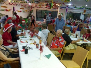 Christmas Dinner party at the village clubhouse.