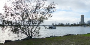The Broadwater looking towards Southport and Surfers Paradise. Note the houseboat in the foreground.