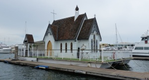 Our Lady on the Sea floating chapel which never leaves dock.