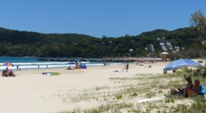 At this end of Noosa Beach, The Woods, the beach seemed almost deserted. Towards the hill on main beach it was crowded.