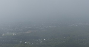 Wollongong from Bulli Lookout which is blanketed in local cloud.