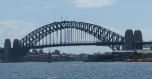 The iconic Sydney Harbour Bridge from Darling Street East Balmain.