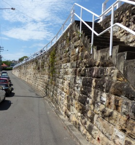 As a building material sandstone is wonderful. It can be dressed or left rugged as is the case in the retaining wall. Balmain original houses are mostly built from sandstone.