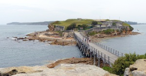 Bare Island with walkway. Entry through the locked gated is via a guided tour on Sundays (must be booked in advance - it is so popular) or by prior arrangement for approved groups.