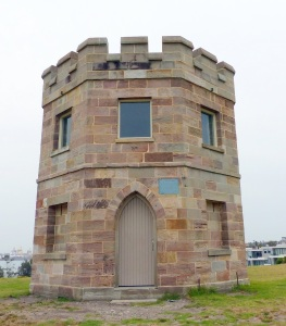 The Barrack Tower at La Perouse. Built in 1820 and manned to look for smugglers (from where?) stray boats and invading fleets. ( Oz is a long long way from any nearby land mass so you have to wonder where the smugglers came from and what size an invading armada of ships would have to be. Not to mention having to spend 12 months at sea from places such as France, Spain or Russia.