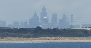 Cronulla, Wanda, Greenhills and Sydney skyline from Gunyah Beach.