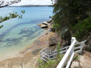 Staircase to safe swimming hole at the end of Gunyah Beach.