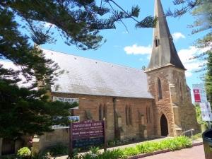 Sandstone construction of the Kiama Presbyterian Church.