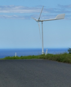 Kiama is a naturally windy place. The coast is open to winds from northerly to southerly and even westerlies. The hills are remnants of long ago extinct volcano's. This is the only example of a wind turbine and a small one at that. Debate has been raging in the community for several years with pro wind farm and anti wind farm activists presenting their cases. So far the anti wind farm faction is winning.