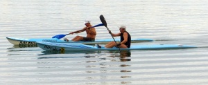 Old mates out for an early morning paddle.