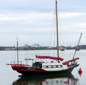 Interesting boat on the Broadwater, early morning with Sea World in the distance.