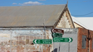 Old buildings and signposts at Goodooga an Aboriginal settlement about 60 Klms north of Lightning Ridge.