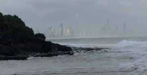 Surfers Paradise seen from Tallebudgera Creek.