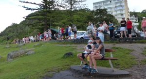 Spectators at Burleigh Headland.
