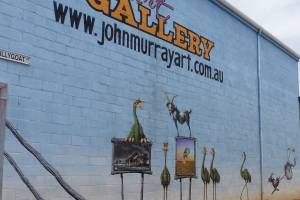 John Murray Art Gallery. These images were painted by him on the wall outside in Billygoat Alley. Note the Billy Goat shown in the paintings.