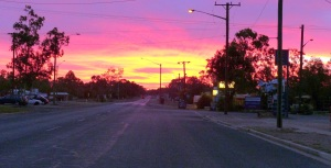 This is sunset from the main road of Lightning Ridge.
