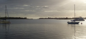 Looking across the Broadwater to Wave Break island and the entrance to the ocean Gold Coast Seaway at The Spit.