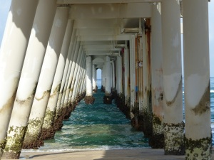 Under the sand pumping jetty.