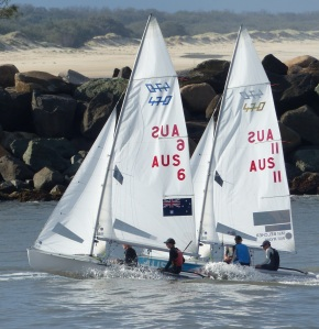 Sailboat racers in training.in the Gold Coast Seaway