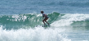 Young lady competitor in Longboard Titles.