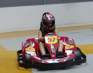Anakin at the wheel of the Go Kart.