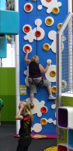 Averyl had a go at climbing a wall.