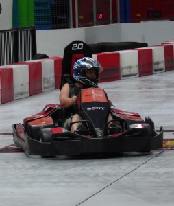 Averyl at the wheel of her Go Kart