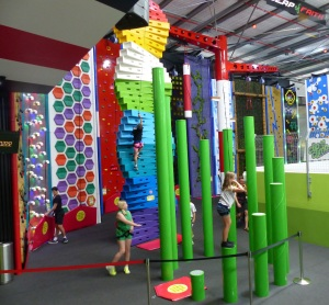 Some of the climbing walls.