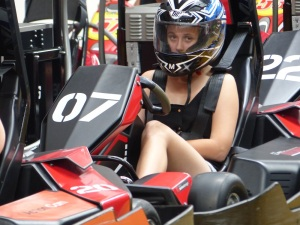 Shelby waiting in the Go kart pits.
