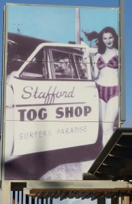 Early advertising for Staffords Tog Shop. The store was opened by Paula Stafford who designed and made her own label of exclusive bikini's.