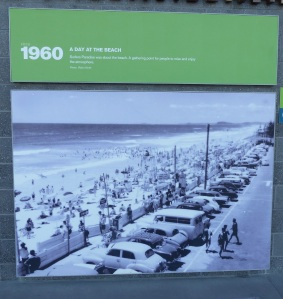 Look at how close to the beach you could park in 1960. Now there is a buffer zone of wide promenade and in places tree shaded grass with picnic tables. Also showers and toilet blocks are now conveniently located every 100 metres.