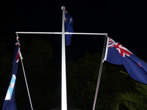 The Australian, New Zealand and Queensland Flags on our revamped flagpole  at  our Shrine of Remembrance.