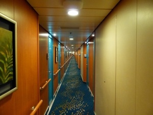 Our cabin was mid ship. This is the hallway looking forward.