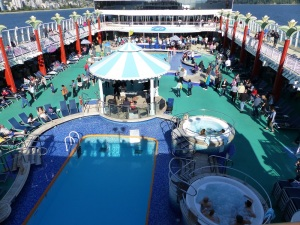 The forward deck pool and games area.