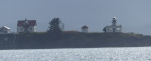 A lighthouse on one of a myriad of small islands in the bay around Juneau.
