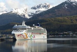 Norwegian Pearl at dock in Juneau.