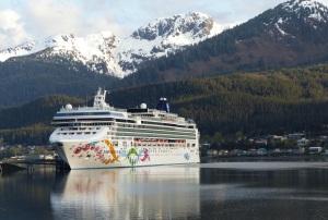 Norwegian Pearl at dock in Juneau.