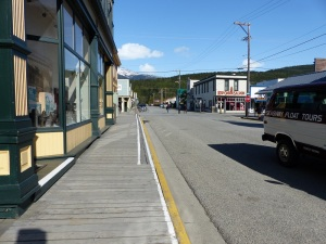 Timber boardwalk footpaths of Skagway.