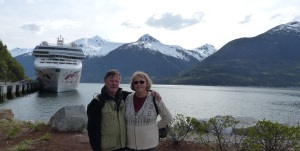 Us with the PEARL in the background at Skagway.
