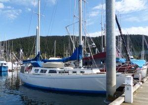 This is the yacht owned by the solo sailor we met. The boat is called Sherhazerade.